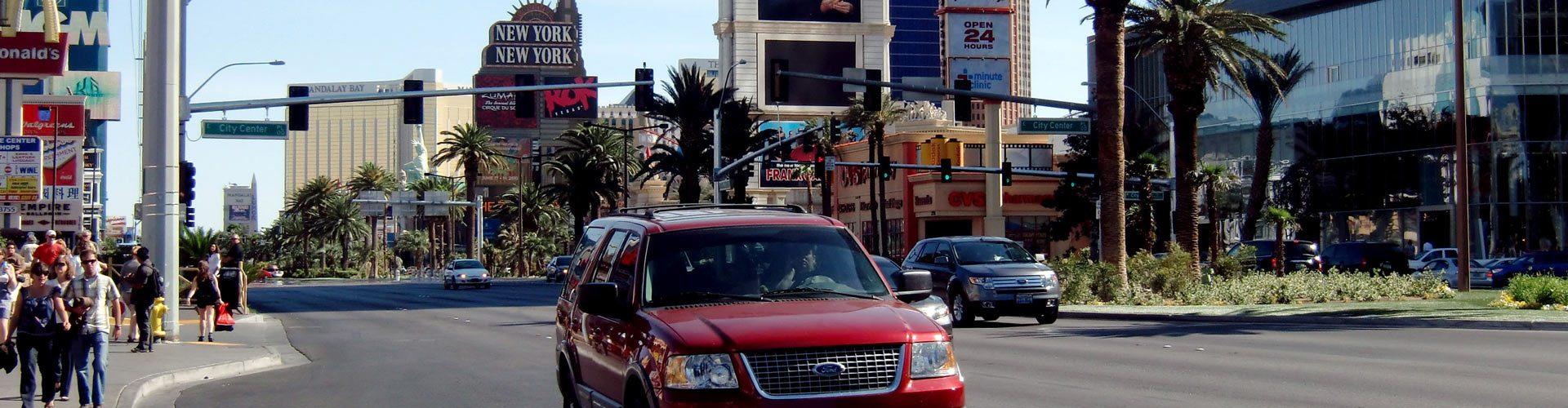 Mit dem Aut am Las Vegas Strip, Nevada