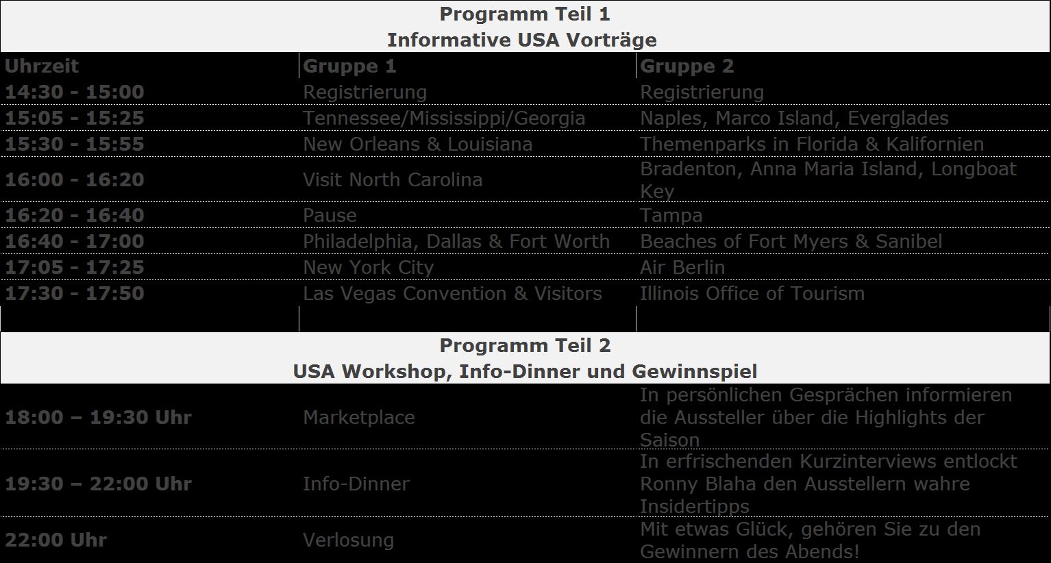 Seminar programm Visit USA